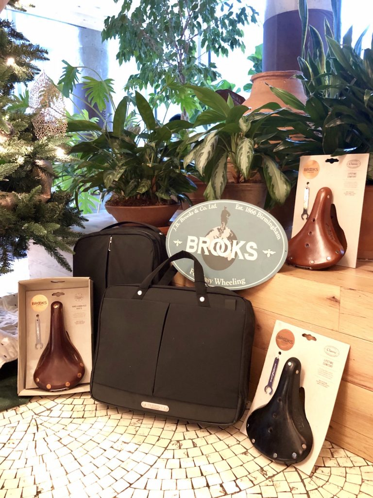 A collection of Brooks saddles and bags