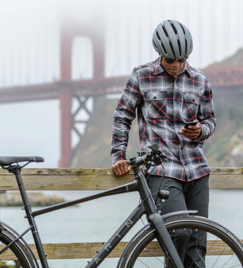 A Marin Presidio and rider in front of the Golden Gate Bridge.